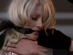 Gorgeous blond fastened in his closet and fucked