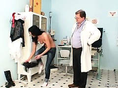 Gabina humiliated during perverted gyno speculum exam by old doctor