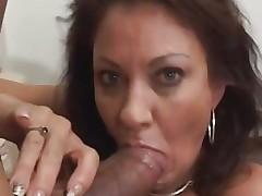 Vanessa Videl stuffs this hard pecker down her face hole