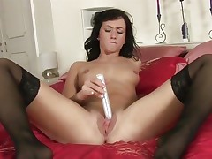 Tess Lyndon toy copulates her soaking soaked snatch