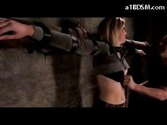 Blonde Angel Tied To Cross Belly And A-hole Spanked Bumpers Rubbed In The Dungeon