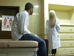 Sexy blonde doctor receives patient cock