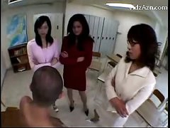 3 Teachers Raping Stud Rubbing His Face With Love bubbles Getting Love tunnel Licked In The Classroom