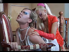 Hot crossdresser smoothens his nylons ready for a fuck with a ding-dong diva