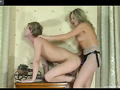 Slaver lady drags her paramour into the room and nails his expecting anus