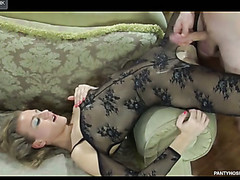 Sassy girl flaunts in a darksome open crotch bodystocking hungry for some meat