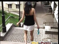 Cutey hides her public pissing attaint
