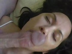 Pliant wife licks 10-Pounder and balls and receives cum treat
