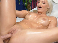 Cute blond Macy is enticed and screwed hard by her massage therapist