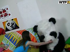The horny Panda found this time a cutie obsessed with him! This beauty has a poster with panda on the wall and draws a picture of him now. She's so slutty and happy that finally panda visited her but does that babe knows what his intentions are? Well that babe maybe a bit innocent and naive but that's how panda can't live without it!