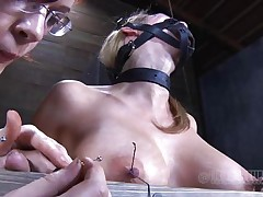 Look at this fucking cheap whore, probably that babe was awaiting for some old fashioned arse whipping and throat fucking. Maybe that babe will acquire some of that later but now, the breasty sex serf is going to experience smth more intense. With precision and skill they tie her nipples and fingers with wire, desire to know why?