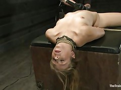 Chastity Lynn is a blonde milf who enjoys being fastened up with ropes. She likes when that chick is not able to move her hands and feet freely. As that chick stands helpless with a ball gag in her face hole and a rope blindfold on her eyes, a ally is giving her a large time pleasure, rubbing her wet crack with a vibrator.