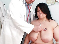 Obese brunette Rosana went to doctor's to receive her body checked up well. But there is this nasty pervert doctor who makes her stripped and starts playing with her firm fat body! See how he is toying with her biggest breasts and gaping her pussy. This chab even fingers it to make her sexually excited so that he can screw her well!