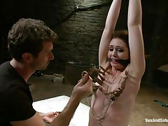 James is sick and tired of her attitude and comes to a conclusion to dominate her. After adding some more clothespins on her thin white body that guy sticks his rod betwixt her juicy lips and the way she's engulfing it makes him ease her torment and removes a scarcely any pliers, will this sweetheart be a good beauty from now on?
