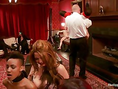 Fucking doxies have a pleasure being totally dominated by their mistress and mysterious studs at a private party. One of 'em has her milk sacks tortured, while the other sucks a big hard pecker very deep. A sexy waitress brings some recent toys for the bitches. Untill then, the brunette keeps sucking with her head upside down!