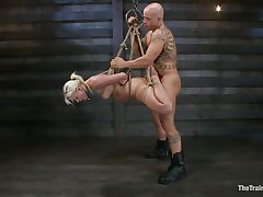 She's a thin hot blonde with a pair of lips that are ideal for engulfing penis and a bubble butt that demands some serious fucking. Watch her as she's fastened up and hangs there while the bald man copulates her love tunnel hard and his friend takes care of her mouth. That sweetheart enjoys a ruff fuck, will this sweetheart have a fun some cream too?