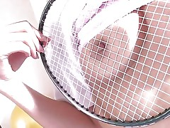 Japanese brunette hair Suzu Minamoto has nothing but a badminton racket to push in her juicy pussy. She'll have to settle for shuttlecock instead of real cock. that sweetheart rubs the strings on her nipps and then jams the birdie up her twat.