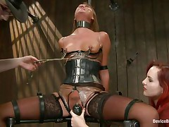 She's hard to please but no worries, these 2 very skilled mistresses will take care of her. After they've bound the doxy and immobilized her, metal clamps were used to punishment her pantoons and pussy. Now she's in ache but that marital-device on the muff gives her some pleasure. Stay with us and have a enjoyment her castigation