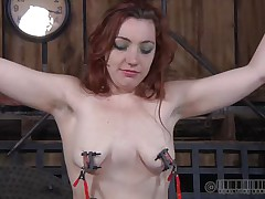 Pretty redhead Maggie is a bit frustrated with her punishment. That babe got used with hard and humiliating treatments and what that babe receives now is just boring. Little did that babe knew that her executor has smth very peculiar for her pretty head. This guy overspread her face with latex and suffocation increased her pleasure!