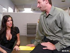 Look at that sexy brunette hair telling her boss to come in the storage room so she can chastise him for trying to fuck them. 2 of her friends come along and they get horny on that guys cock. Are they going to get some ball batter on their sexy lips or some hard cock in their constricted pussies?