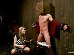 Blonde milf Tanya enjoys being Casey`s bitch goddess and plays hard with his balls. This dude has his hands bound up to the wall with a box on his head. This hottie can't live out of torturing his teats and making him feel like the serf this chab is. Casey was a bad fellow and now this chab must acquire the right punishment! Watch how his balls tremble.
