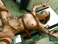 This doc putted clothespins all over her hot body except her hot love muffins and then he inserted his hard weenie unfathomable in her shaved cunt. Watch the cute whore as she's laid on that table, fastened with leather straps and her lengthy skinny legs are widen wide revealing a delicious cum-hole that's filled with jock