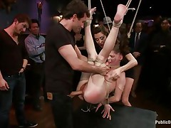 This babe was a very bad angel and the public is determined to give her a disgraceful punishment. Look how she hangs there bound up and with her bawdy cleft on display, waiting to get screwed hard and deep. Her wait is soon over as a dude inserts his upright weenie unfathomable in her delightful vagina, wonder if that man will cum in her?