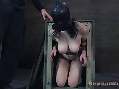 Freshly out of the box the milky white brunette with large soft mounds gets a coarse throat fucking from her executor. After warming her up with his dick the guy puts her on the floor with her legs up and inserts a speculum in her taut pussy. Like how it looks inside, some cream would make it look greater quantity wonderful
