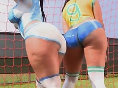 Large tittied and round assed ladies get nailed in advance of camera