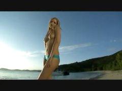 Ideal bikini hotty on a beach gets hot
