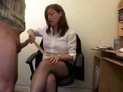 He lets the secretary taste his cock and balls