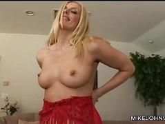 Pale blonde in red belt enjoys in foursome sex act