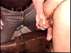 Hot muscle chap Derek Da Silva gets balls bashed on iron anvil.