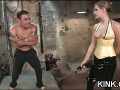 Domination tart drills a fellow with a strap-on