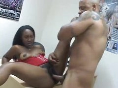 Ebony hotty in corset loves that hard jock