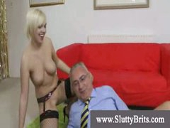 Stocking wearing youngster acquires creampie by old kinky stud