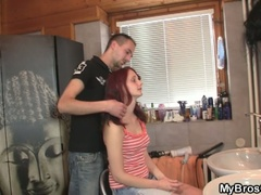 Excited red head legal age teenager bitch cheating her boyfriend over his ally