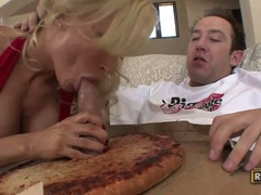Diamond foxxx eats pecker out of the pizza dough